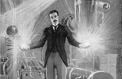 Dr. Tesla demonstrating WIRELESS ELECTRICITY