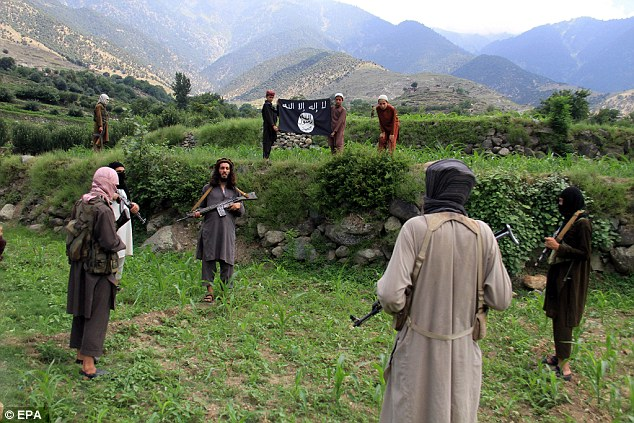 Courtesy: www.dailymail.co.uk, Although they remains small in numbers, ISIS backed militants have picked up a strong number of defectors following the revelation that the Taliban had lied about the death of Mulah Omar