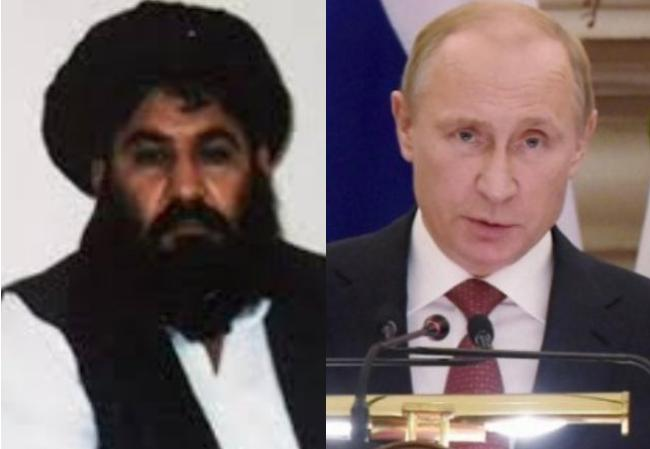 Courtesy: www.newsroompost.com, Taliban Chief Mullah Akhtar Mansour and Russian President Vladimir Putin