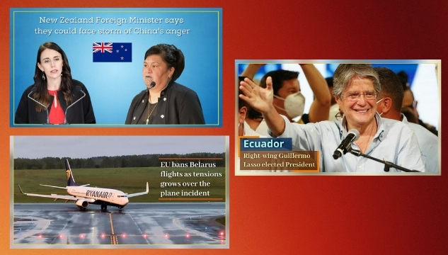 New Zealand could face a storm of China's anger; Guillermo Lasso elected President of Ecuador; Belarus faces EU flight ban