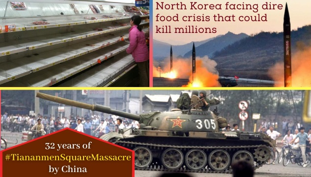 North Korea is facing one of the worst food crisis;  'Nervous' China and 32 years of Tiananmen Massacre